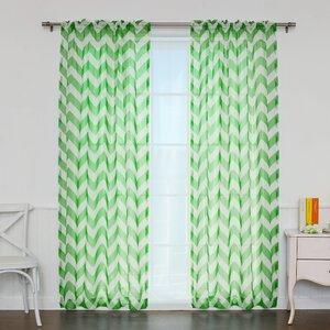 Chevron Sheer Rod Pocket Single Curtain Panel