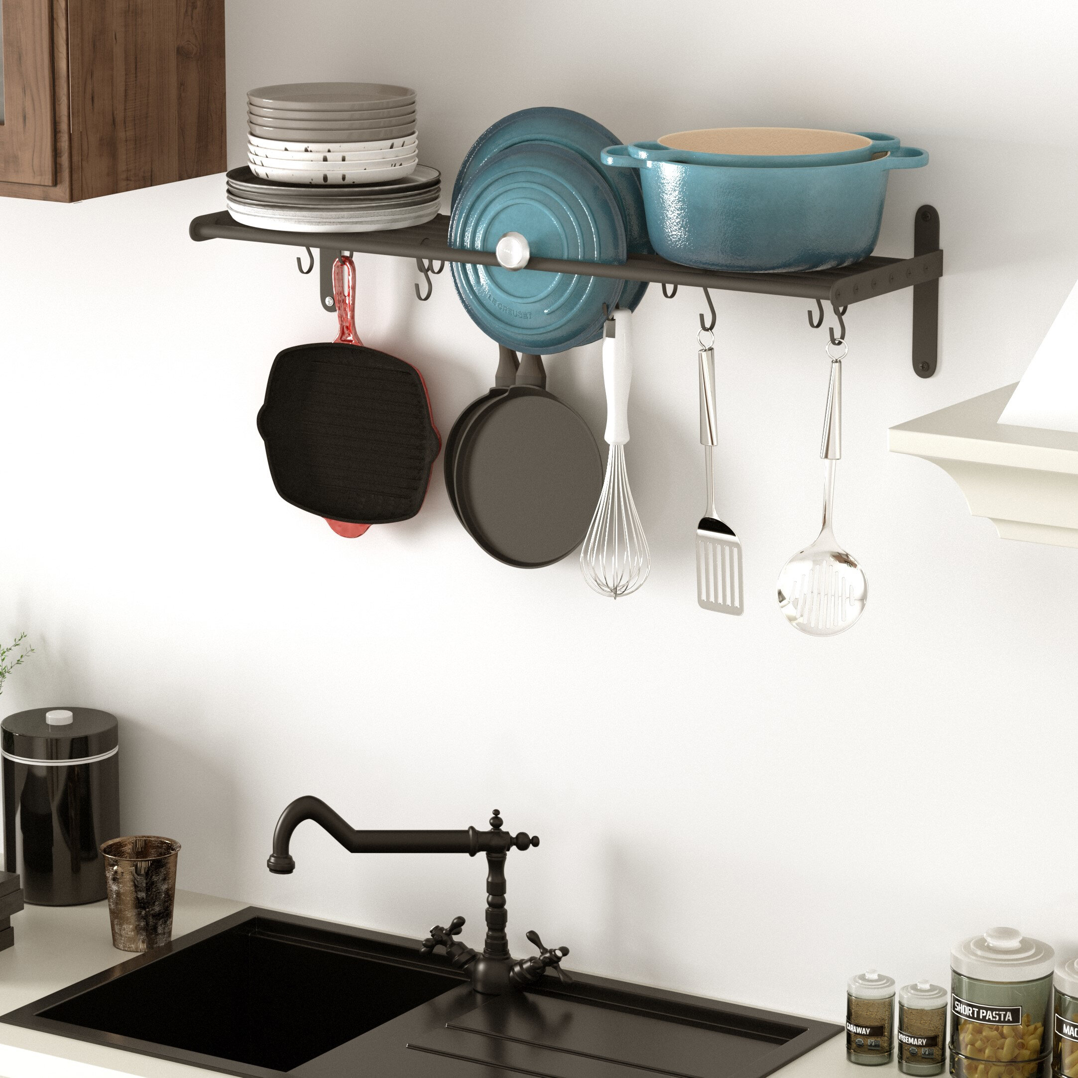 Picture of: Rebrilliant Lyon S Hook Hanging Pot Rack Reviews Wayfair Ca