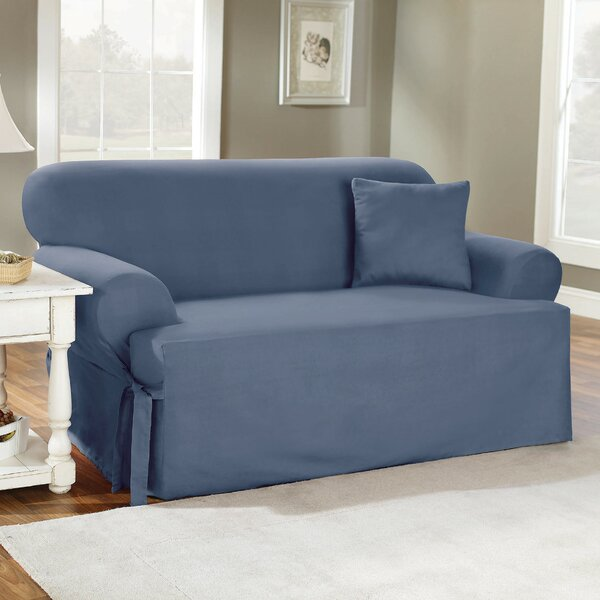 Review Cotton Duck T-Cushion Sofa Slipcover