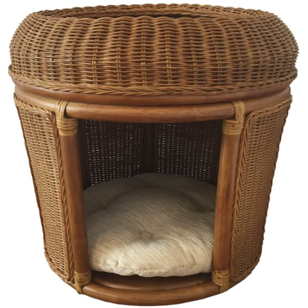 Meghan Pets Rattan Wicker House Hooded Dog Bed by Tucker Murphy Pet