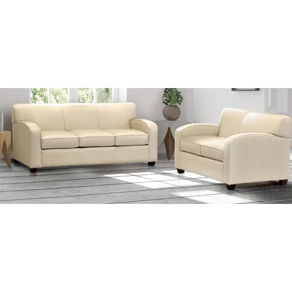 Made In Usa Knocknaboul Cream Top Grain Leather Sofa And Loveseat By Ebern Designs