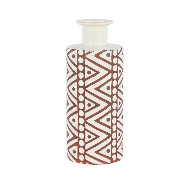 Dickey Tribal Pattern Ceramic Table Vase by Union Rustic