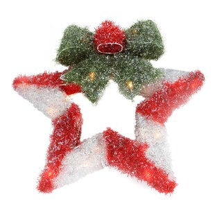 16 lighted tinsel star with bow christmas wreath