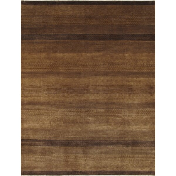 Gabbeh Hand-Knotted Wool Brown Area Rug by Pasargad
