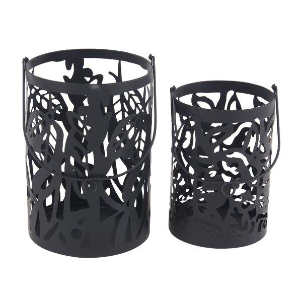 Eclectic Round 2 Piece Metal Lantern Set by Bungalow Rose