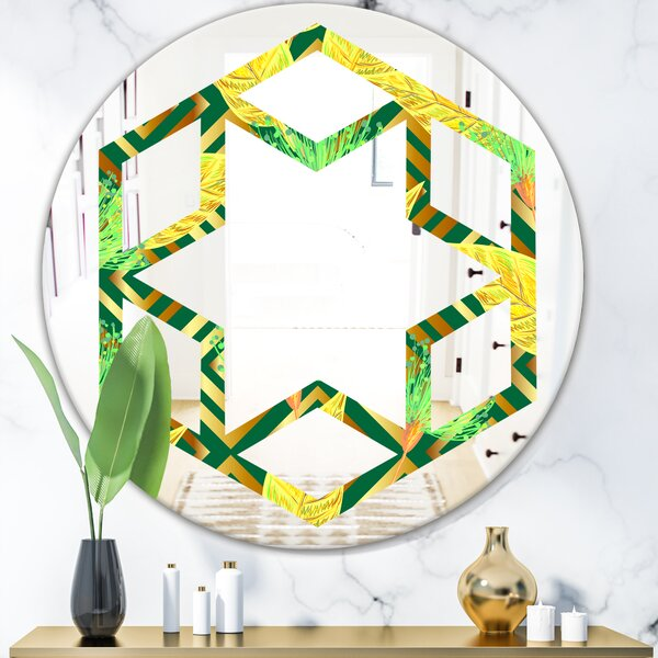 Luxury Pattern II Hexagon Star Eclectic Frameless Wall Mirror