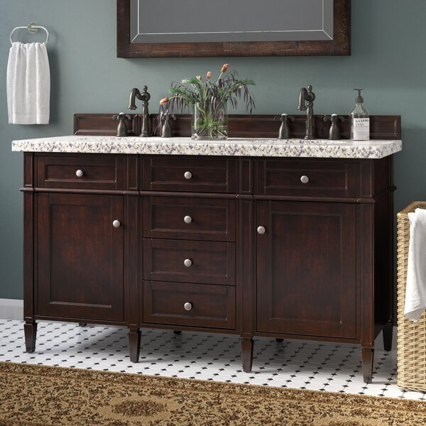 Deleon 60 Double Burnished Mahogany Granite Top Bathroom Vanity Set by Darby Home Co