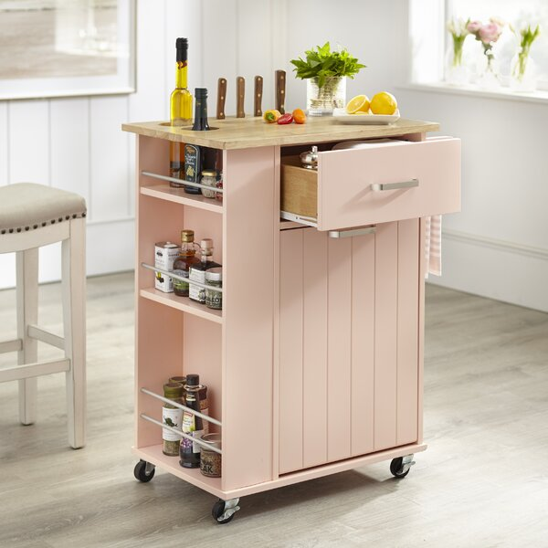 Toro Kitchen Cart with Solid Wood Top by Winston Porter