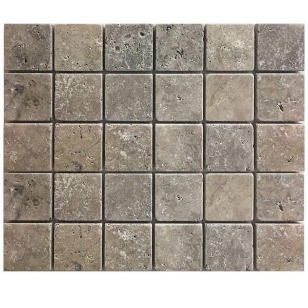 Tumbled 2 x 2 Natural Stone Mosaic Tile in Brown/Gray by QDI Surfaces