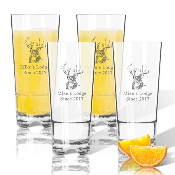 Tritan Buck Lodge 16 oz. High Ball Glass (Set of 4) by Carved Solutions