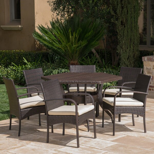 Outdoor 7 Piece Dining Set with Cushions by Highland Dunes