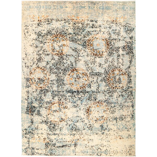 One-of-a-Kind Heim Hand Knotted Wool Black/Blue Area Rug by Bloomsbury Market