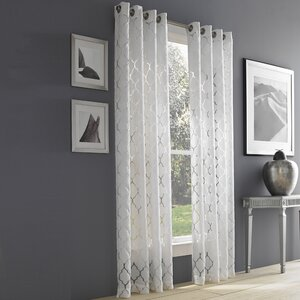 Raja Geometric Semi-Sheer Grommet Single Curtain Panel