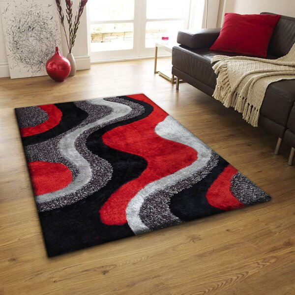 Riaria Shag Hand-Tufted Black/Red/Gray Area Rug by Latitude Run