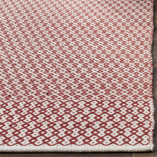 Parthena Hand-Woven Red Area Rug by Charlton Home