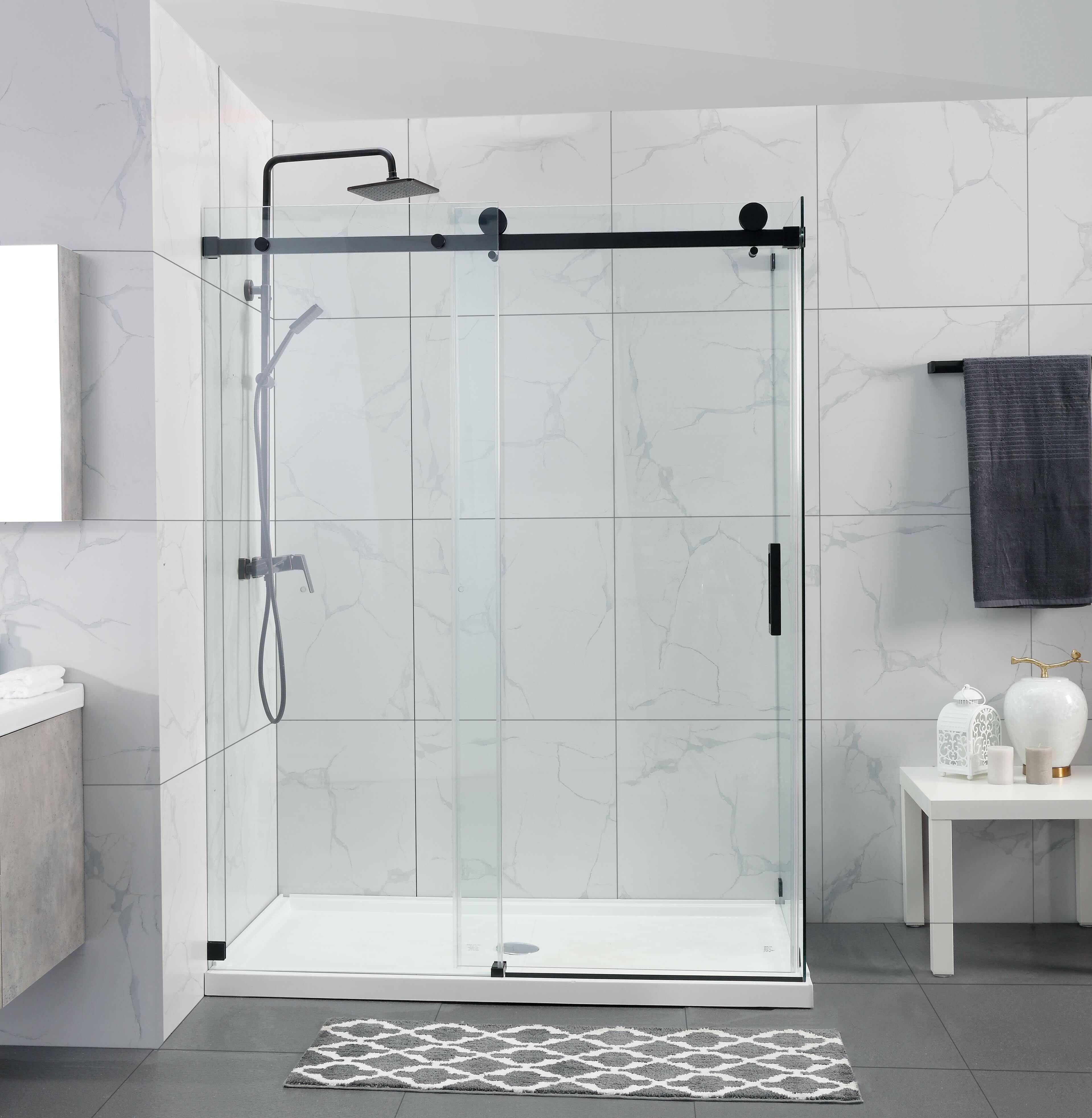 """10"""" W x 10"""" H Single Sliding Frameless Shower Door"""