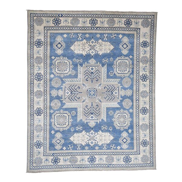 One-of-a-Kind Espada Vintage Look Oriental Hand-Knotted Blue Area Rug by Millwood Pines