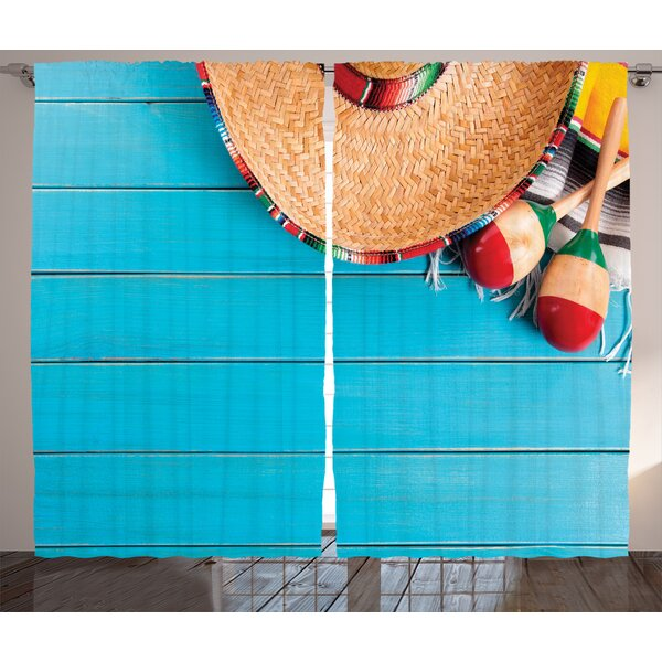 Sombrero and Maracas Decorations Graphic Print Room Darkening Rod Pocket Curtain Panels (Set of 2) by East Urban Home