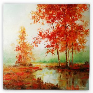 'Autumn's Grace II' by T.C. Chiu Framed Painting Print on Wrapped Canvas by Wexford Home
