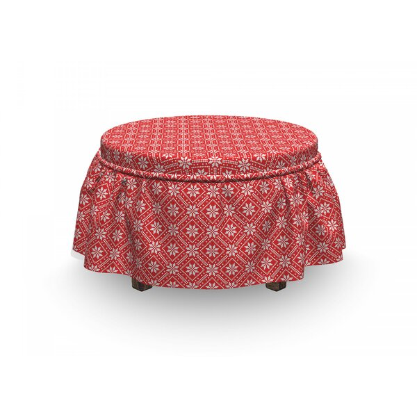 Ukraine Traditional Motif Ottoman Slipcover (Set Of 2) By East Urban Home