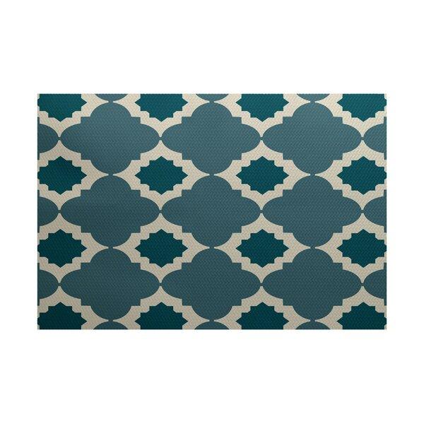 Bevis Geometric Print Hand-Woven Aqua Indoor/Outdoor Area Rug by Ebern Designs