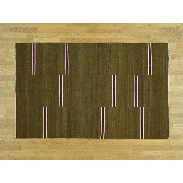 One-of-a-Kind Bessey Handmade Kilim Brown Wool Area Rug by Isabelline