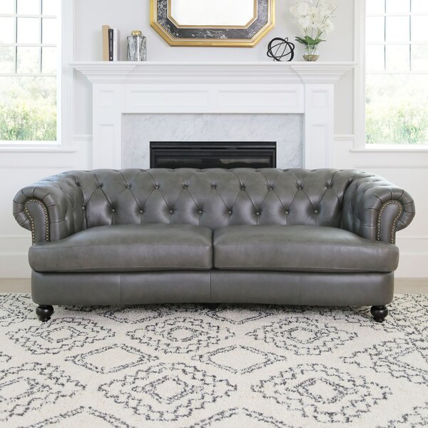 New Collection Barnabas Top Grain Leather Chesterfield Sofa by Darby Home Co by Darby Home Co