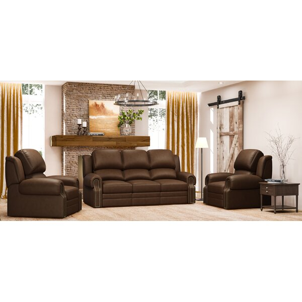 Hilltop 3 Piece Leather Reclining Living Room Set By Westland And Birch