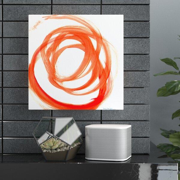 Orange Swirl Ii Framed Print On Canvas In Orange White By Wade Logan.