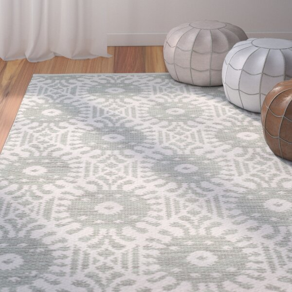 Clemence Hand-Woven Light Green/Ivory Area Rug by Bungalow Rose