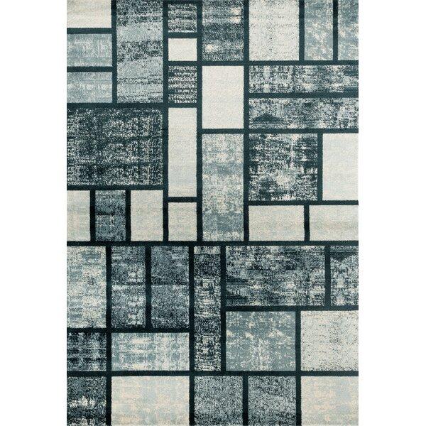Hendren Geometric Grayish Blue Area Rug by Ebern Designs
