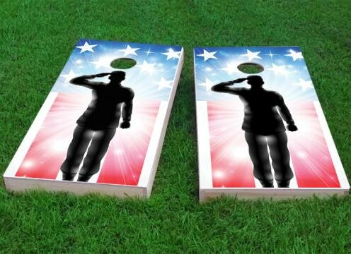 American Flag Soldier Salute Cornhole Game (Set of 2) by Custom Cornhole Boards