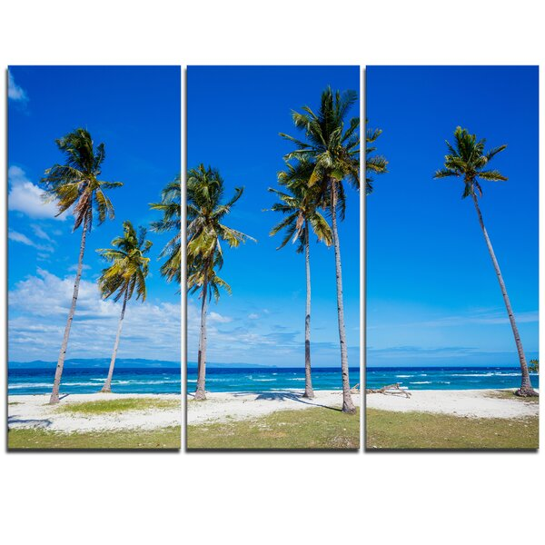 Palms on Philippines Tropical Beach - 3 Piece Photographic Print on Wrapped Canvas Set by Design Art