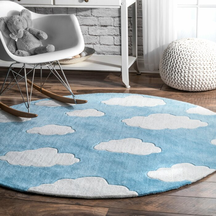 Lily Cloudy Sachiko Hand Tufted Blue Area Rug