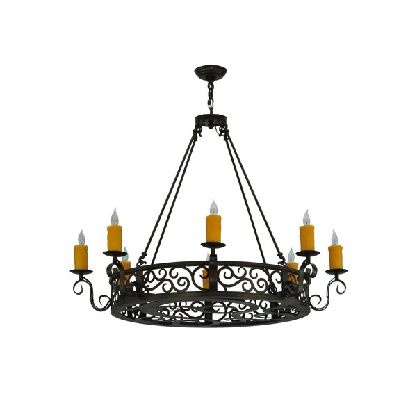 Witter 8 - Light Candle Style Wagon Wheel Chandelier by Fleur De Lis Living Fleur De Lis Living