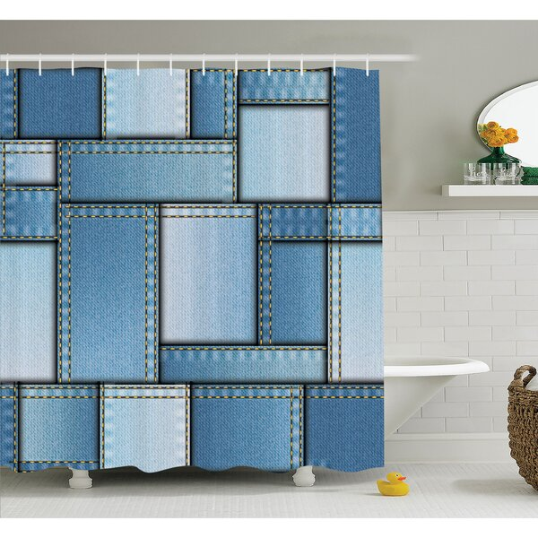 Farm House Patchwork of Different Size Denim Fabric Pattern with Vertical Warp Beam Artprint Shower Curtain Set by Ambesonne