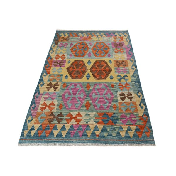 One-of-a-Kind Aalborg Kilim Hand-Woven Blue Area Rug by Isabelline