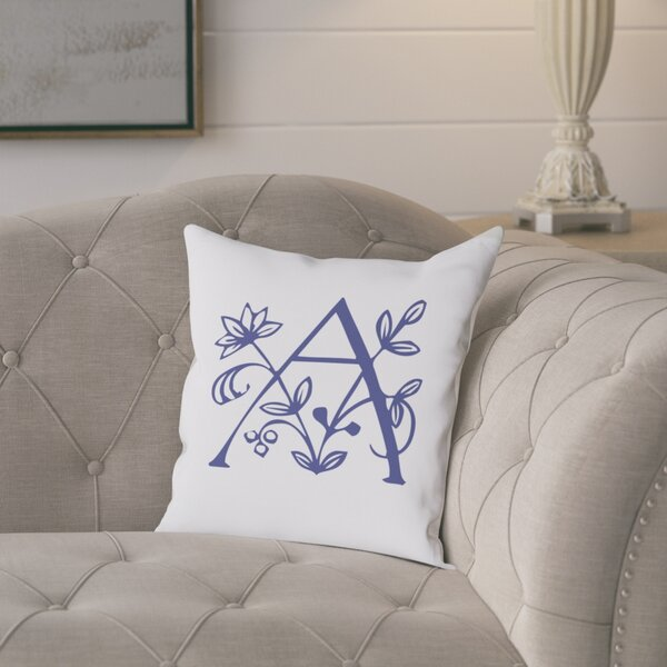 Attina Personalized Floral Initial Throw Pillow by August Grove