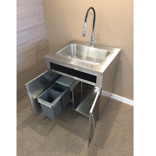 30 x 17 Drop-In Kitchen Sink with Built in Garbage Can and Black Tempered Glass Panels