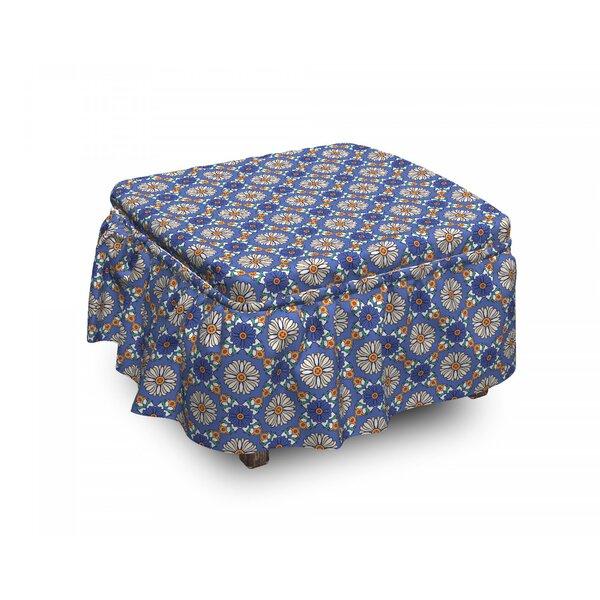 Geometric Flower Orient 2 Piece Box Cushion Ottoman Slipcover Set By East Urban Home