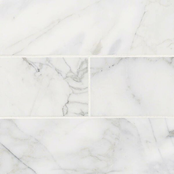 Calacatta Cressa Honed 4 x 12 Marble Subway Tile in White by MSI