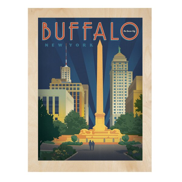Buffalo by Joel Anderson Graphic Art on Wood by New York Blackboard