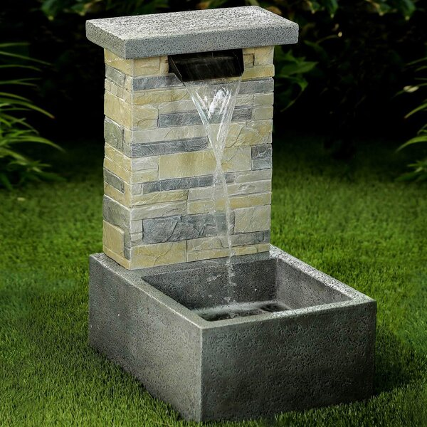 Resin Stone Water Fall Fountain with LED Light by Jeco Inc.
