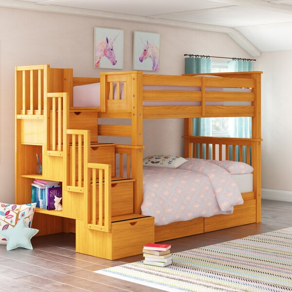 Tena Tall Stairway Twin Over Twin Bunk Bed with Drawers And Shelves by Harriet Bee
