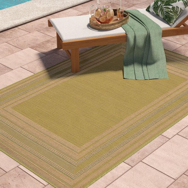 Lambert Etched Border Green Indoor/Outdoor Area Rug by Bay Isle Home