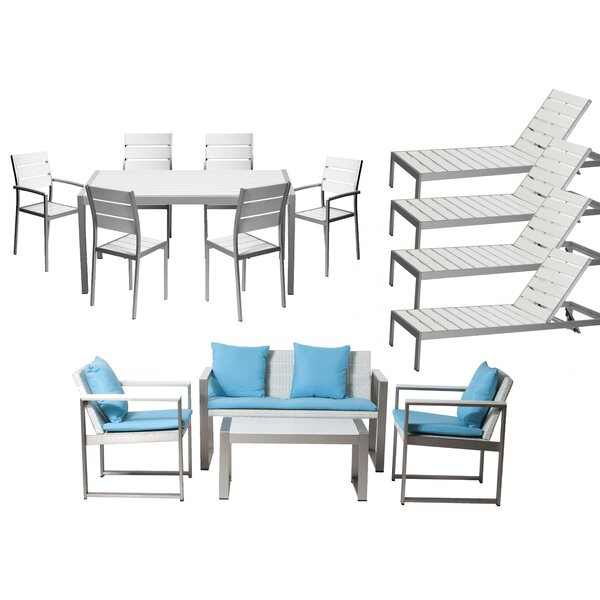 Kiera 15 Piece Complete Patio Set with Cushion by Modern Rustic Interiors