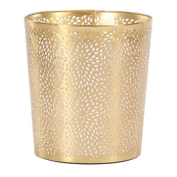Modern Perforated Design Round Waste Basket by Col