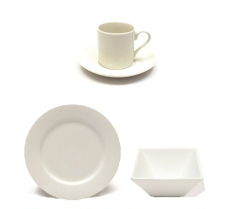 White Basics Cocktail Rim 24 Piece Dinnerware Set, Service for 6 by Maxwell & Williams
