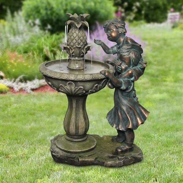Polystone Boy and Girl Fountain by Alpine