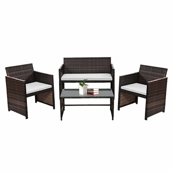 Admir 4 Piece Rattan Sofa Seating Group with Cushions by Latitude Run